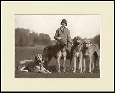IRISH WOLFHOUND LADY AND HER DOGS GREAT DOG PHOTO PRINT MOUNTED READY TO FRAME