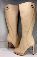 CHRISTIAN DIOR Knee High Nude Pale Pink Leather Side Zip  Boots Sz 37 US 7   #6