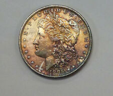 1885-O Morgan Silver Dollar Rich RAINBOW toning Obverse White Reverse