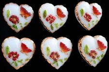 6 Czech UNIQUE Glass Buttons #B259 - HEART with Butterfly