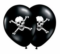 "Pirate Skull & Bones 12"" White on Black Latex Balloons 1-100ct - by Party Decor"