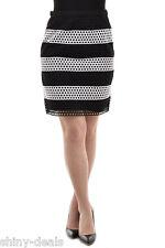 MICHAEL KORS New Woman Black White Striped Openwork Tube Cotton Skirt Size 8 NWT