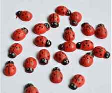 100 Marienkäfer aus Holz zum Dekorieren Basteln  13 mm x 9 mm Streudeko