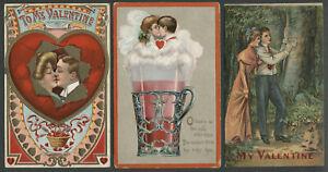 Lot of Three c.1908-10 Valentine Postcards LOVING COUPLES, SODA POP, Beautiful!