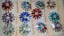 Job Flower Design Diamante Crystal Brooches - Wholesale Lot 1