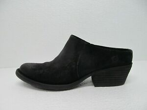 Born Starr Mule Black Distressed Leather Western Clogs Size Women's 7.5M