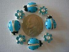 2 Hole Slider Beads Ladybugs & Daisy Aqua Crystal Made w/Swarovski Elements #8