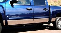 "Stainless Steel 9"" Wide Rocker Panel 14PC GMC Sierra Crew Cab 6.8' Bed 07-13"