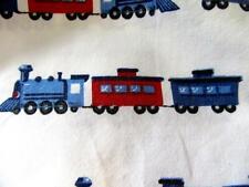 POTTERY BARN KIDS Flat Twin Sheet RAILWAY EXPRESS Train Locomotive Engines rail