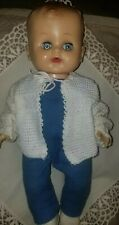 "l11"" boy doll jointed posable blue pinwheel eyes moulded brown hair"