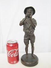 """Antique French Metal """"Le Petit Pecheur"""" Boy Statue"""