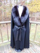 Gemini - 100% Black Wool Belted Trench Coat w /Cape & Fox Fur Collar size L