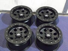 "12"" SUZUKI KING QUAD 700 BEADLOCK BLACK ATV WHEELS NEW SET 4 -LIFETIME WARRANTY"