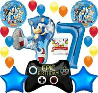 Sonic Party Supplies Video Gamers 7th Birthday Balloon Decoration Bundle