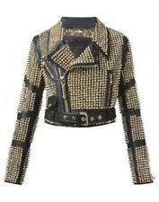 Ladies Fashion Leather Jacket Golden Studded Women Biker Style Leather Jackets