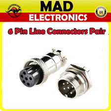6 Pin Female and Male Plug Chassis Mount Connectors Pair Power Micphone