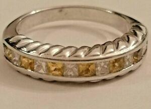 Yellow Sapphire and Diamond half hoop eternity ring 18ct white gold