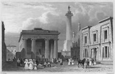 DEVON. The Town Hall, Column and Library, Devonport 1829 old antique print