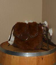 Matches Matchings Brown Rabbit Fur Saddle Bucket Satchel Shoulder Bag Purse