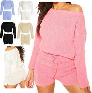 Lounge wear Womens Set Lounge Set Knitted Jumper Shorts Top 2Pcs Short Crop AZ21