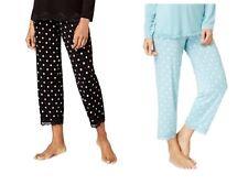 Alfani Women's Lace-Trimmed Knit Dotted Cropped Pajama Pants AquaGeo Pin Dot