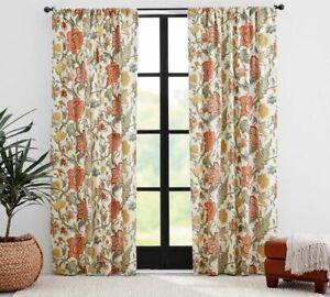 2 Pottery Barn Cynthia Palampore Linen/Cotton Rod Pocket Curtains 80x54