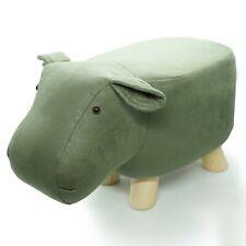 Sitzhocker Nilpferd Kunstleder Olivgrün Kinderhocker Tier Stuhl 50x24x29cm