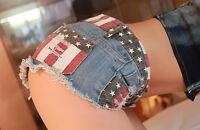Sexy Pants American US Flag Mini Pants Shorts Jeans Hot Pants Denim Low Waist