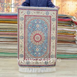 Collection Of 2x3ft Hand Knotted Mini Area Rug Tapestry Handmade Silk Carpet