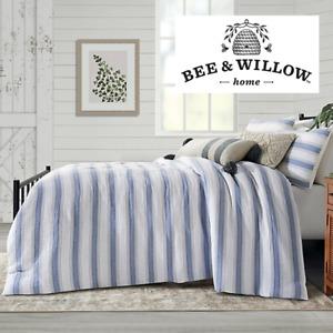 Bee & Willow Home Dash Stitch Stripe 3-Pc Full/Queen Duvet Cover Set Navy/Neutra
