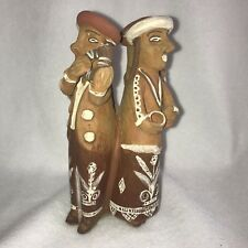 "*Hand Made Peruvian Andes ""Indian Couples"" Clay Pottery Sculpture 8"" H"