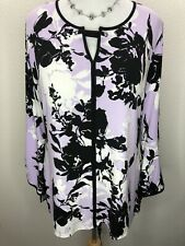 JM Collection XL Stretchy Purple Black White Floral Long Sleeve Tunic Top