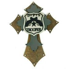 Handmade Wooden Cross Texas DPS State Trooper Rustic Wall Hanging Badge 15""