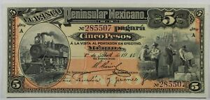 1914 Mexico Banco 5 Pesos ... P-s465a .. Train, Locomotive ... GEM UNC EPQ