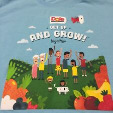Dole Blue T-shirt Get Up And Grow Together Fruit Vegetables Pineapple Canned
