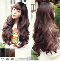 Womens New Fashion Ladies Wavy Curly Wig Long Hair Full Wigs Cosplay Costume+Cap