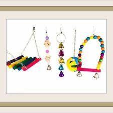 Pack 5 Bird Parrot Swing Chewing Love Birds Climb Toys Hanging Bell Bird Cage