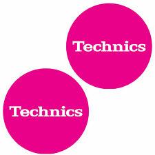 Technics 60654 Pair Slipmat Simple T5: White on Pink Original / Brand New