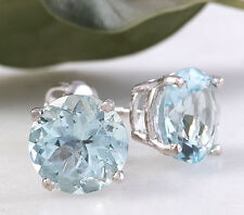 4.20ctw Natural Aquamarine 14K Solid White Gold Stud Earrings