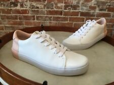 ED Ellen Degeneres White & Pink Leather Darien Sneakers Tennis Shoes 8 NEW