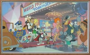 """""""Premiere"""" Cel HAND SIGNED Hanna & Barbera Red Hot Droopy Tom & Jerry framed COA"""