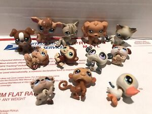 LPS Littlest Pet Shop Pets Hasbro Panda Deer Cat Dog Monkey Parrot GC Lot Of 12