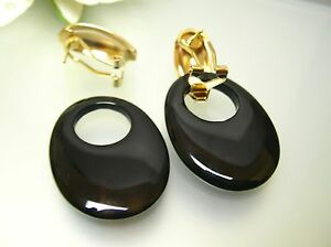 Vintage gold plated oval french clip-on / black agate brownish charm drop ER