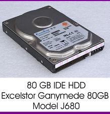 """80GB IDE Hard Drive HDD Excelstor Ganymede 80GB J680 3,5 """" 8,89 CM 7200 U/M -f77"""