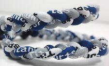 "Wholesale Lot of 12 Titanium Tornado Sport Necklaces 20"" Navy Blue Gray White"
