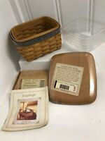 Longaberger 2003 Father's Day Pocket Change Basket, protector, Lid & Tie-On