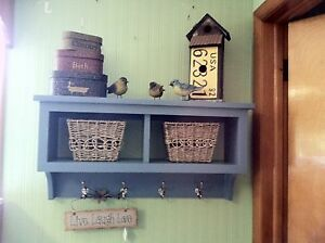 """2 Cubby Wall Shelf Country Coat Rack Or Entryway Storage W Hooks 30"""" Wide Blue"""