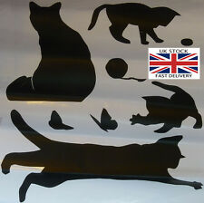 Black Cat Playing Wall Decals. Cute, Butterfly, Knitting Ball-UK STOCK-FREE P&P