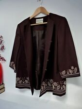 Ladies Lovely Eastex Choco Brown Hip Length Embroided Button Jacket Size 14, Vgc
