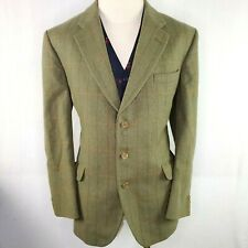 Bladen Supasax Check Tweed Sport Jacket Coat Blazer Green Mens Sz 44R Side Vents